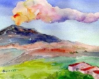 Mt. Etna Volcano Sicily - Reproduction Art Print of Watercolor by North Carolina Artist Kathleen Gwinnett