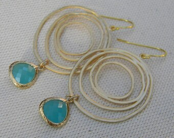 Mint Aqua Gold Swirl Dangle Earrings-Bride-Bridal-Wedding Jewelry