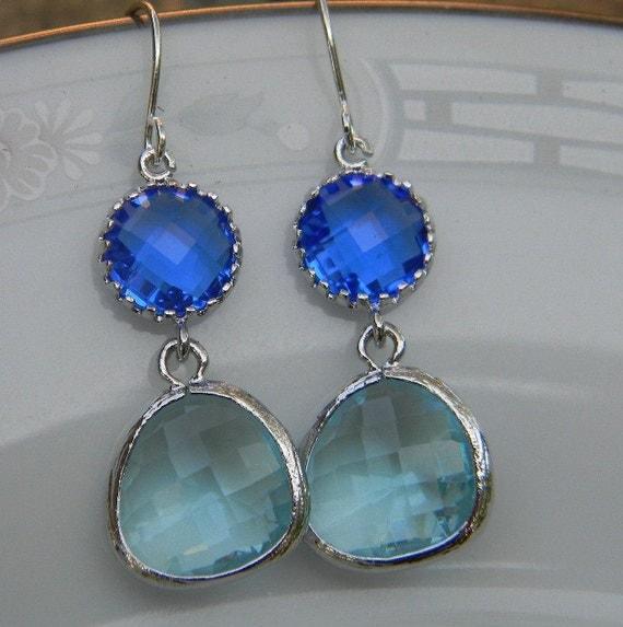 Cobalt Blue Dangle Earrings Aquamarine Silver Earrings - Sterling Silver Earwires - Bridesmaid Earrings Wedding Earrings Bridal Earrings