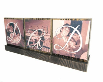PERSONALIZED PICTURE FRAMES-Great Gifts for Dad,Pop,Mom-Personalized wooden photo blocks-Great Christmas Gifts