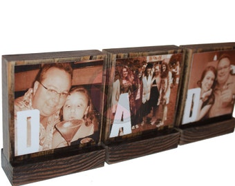 PERSONALIZED PHOTO GIFTS-Great Gifts for Dad,Pop,Mom- Personalized wooden photo blocks-Great Christmas Gifts