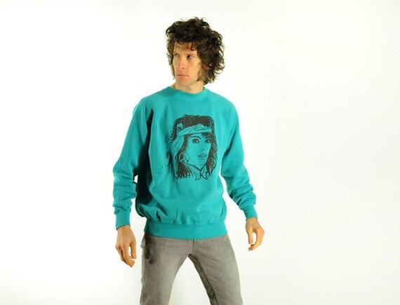 80s flashdance sweatshirt 1980 teal aqua blue peace sign headband glam Lucky 7