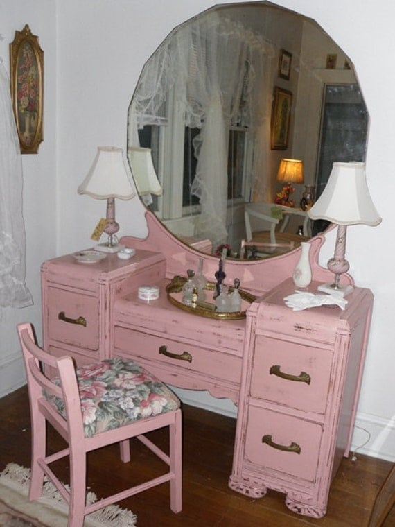 Vintage Dresser Vanity With Mirror And By Vintageappletreasure