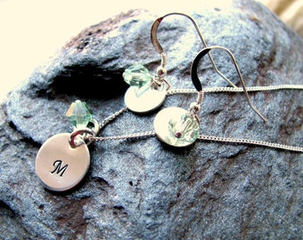 Sterling Silver Earring and Necklace SET with Swarovski Crystals