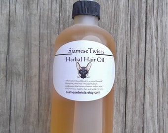 8 oz,SiameseTwists Herbal Hair Oil, Ayurvedic oil for hair growth,dry hair,dry scalp,flaxseed oil