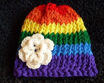 Rainbow hat with removable white flower cloud