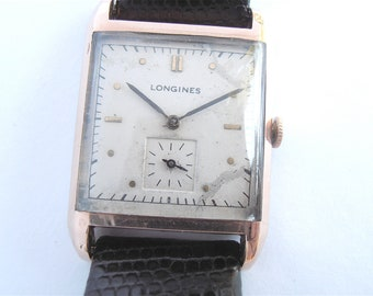 Vintage 50s Longines Tank Watch Mens Dress Wrist Swiss Rose Gold Plated  Time Piece 19mm Lizard Leather Band Rare Hard To Find Collezione