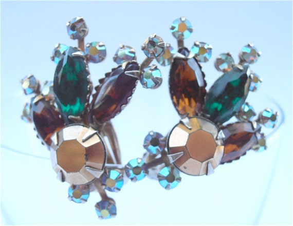 Vintage Emerald Green Crystal Earring Smoky Brown Bronze Starburst Clip On Navette Aurora Borealis Costume Jewelry Villacollezione