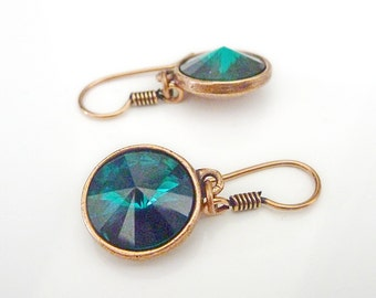Swarovski Earrings in Emerald Green & Copper