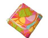 SALE CLEARANCE Large Receiving Blanket Baby Flannel Pink, Orange, Green, Yellow Swirls