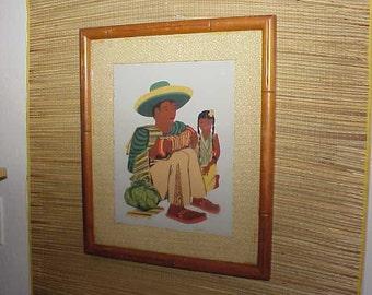 2 Vintage Mexican Mexico Framed Art Prints 1950's Marked Seri Pair Folk Art