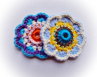 Set of 6 Crochet Flowers (Blues)