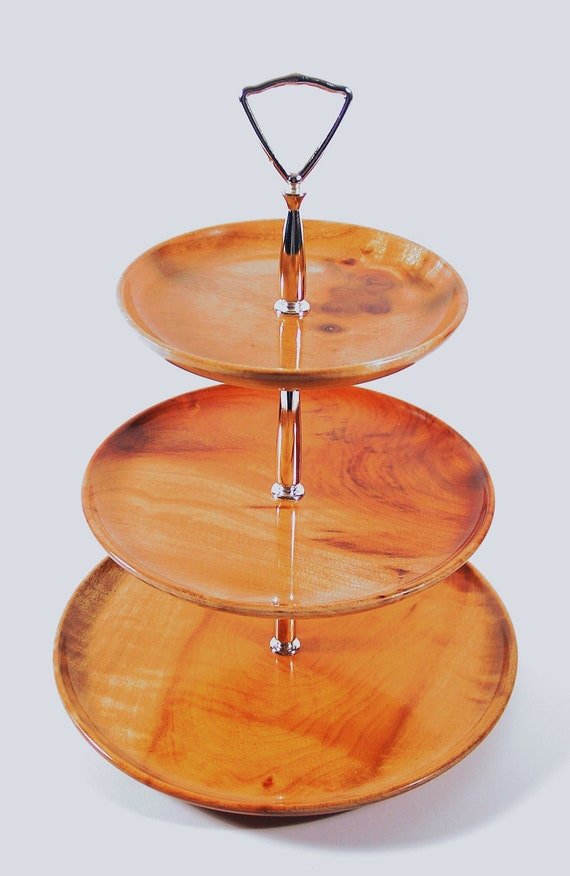 Vintage 3 Tier Cake Stand, Cupcake Display, Wedding Decoration, Party Server. Wooden Tidbit