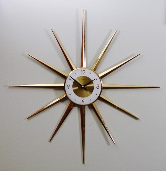 Midcentury Modern Clock Starburst Clock, Atomic Wall Clock, Brass-tone Rays,Sunburst Design Modern Wall Clock, Battery Operated