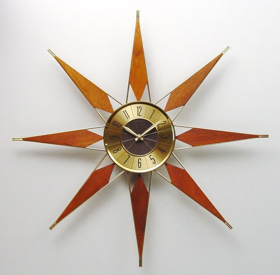 mid century modern starburst clock by elgin atomic wall clock