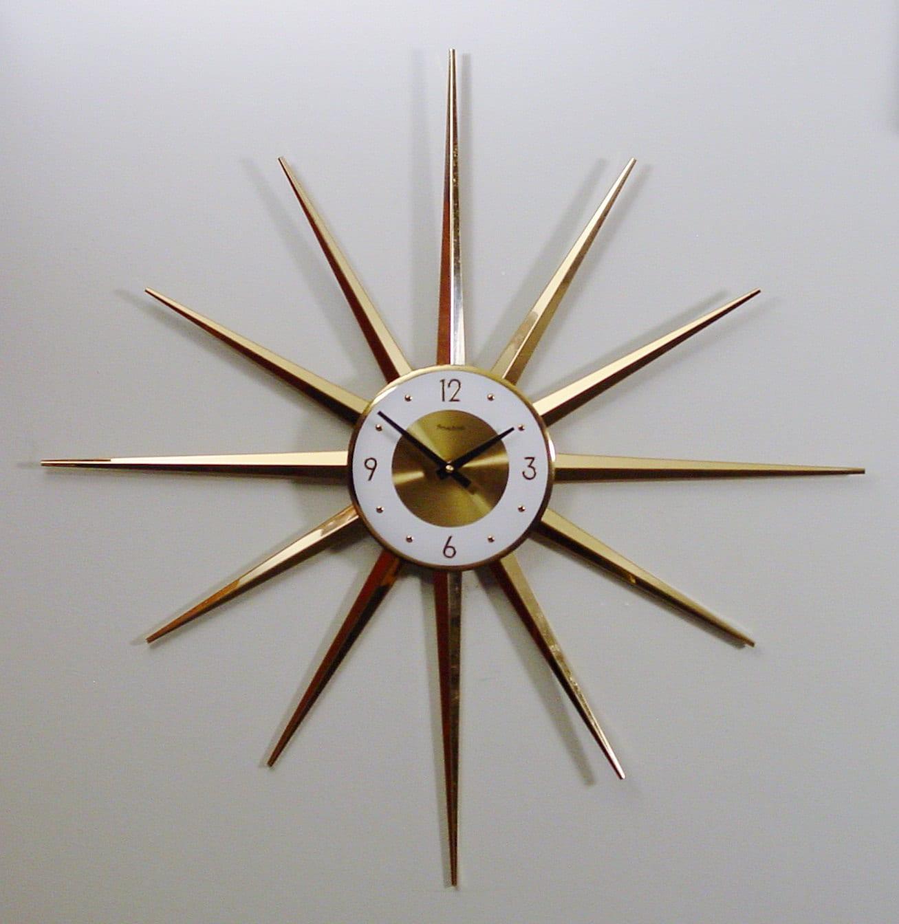 Midcentury Modern Clock Starburst Clock Atomic Wall Clock