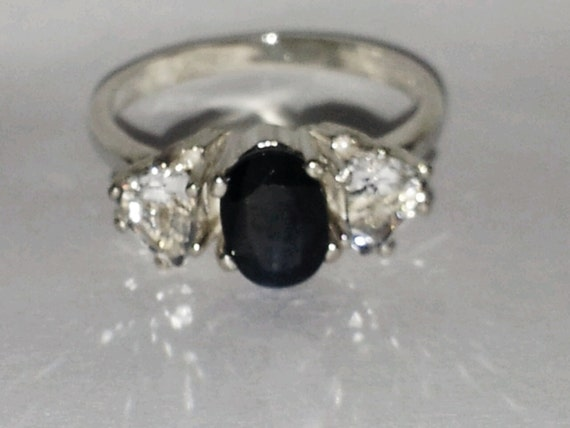 Sterling Silver Sapphire & White Topaz Three Stone Ring