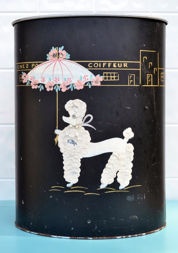 French Poodle Trash Can Paris Bathroom By Relicsandrhinestones