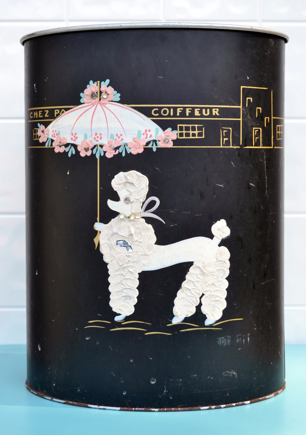 French Poodle Trash Can Paris Bathroom Shabby Chippy Metal