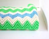 Vintage/retro green and blue crochet blanket
