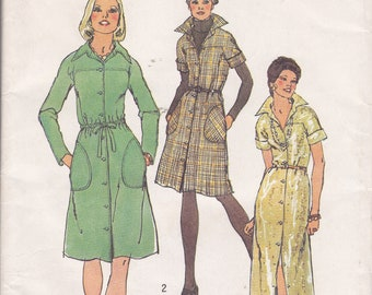 Size 16 Bust 38 Shirt dress sewing pattern long or short uncut Simplicity 6028 from 1973