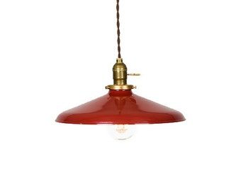 "Industrial Gloss Red 12"" Porcelain Enamel Shade Edison Pendant Light ( Antique brass or Chrome )"
