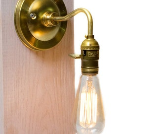 Brass Arm Bare Bulb Edison Paddle Key Socket Wall Sconce with wire and plug