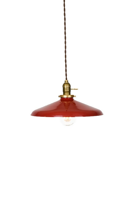 """Industrial Gloss Red 12"""" Porcelain Enamel Shade Edison Pendant Light ( Antique brass or Chrome )"""