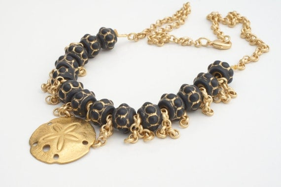 Black and Gold Sand Dollar BEACH NECKLACE by Cheydrea