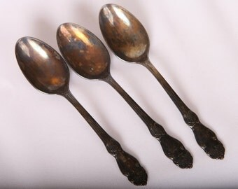 Set of 3 Vintage Old Soviet RUSSIAN Tea Melchior Spoons EXCellent Mint Condition