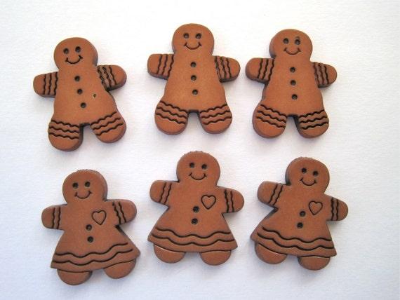 Gingerbread Craft Novelty Embellishment Buttons