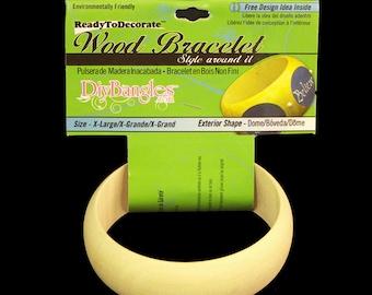 """Diy Bangles, unfinished wood bangle bracelet, Size X-Large 1"""", Dome Exterior  BR-RE-020"""