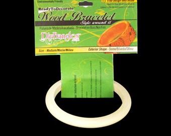 """Diy Bangles, unfinished wood bangle bracelet, Size Medium  3/8"""", Dome Exterior  BR-RE-033"""