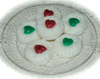 Christmas Cookie Soap - Coconut Macaroon Cookie Soap Scented in Peppermint - Goat's Milk Christmas Soap  - Set of 6 Soaps