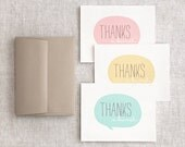 Thank You Cards, Set of 6 - Spring Pastel Mint, Pink Peach, Mustard Yellow - Eco Friendly, Wedding - HappyDappyBits