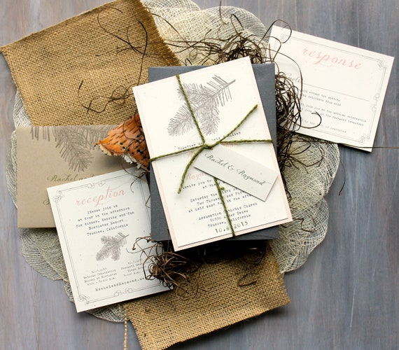 Rustic Elegant Wedding Invitations Peach Wedding Invitations
