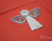 Handmade Greeting Card with Paper Quilling Angel for Christmas or Seasons Greetings