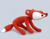 fox amigurumi plush woodland stuffed animal red white crochet art doll mini baby fox ready to ship - GretelCreations