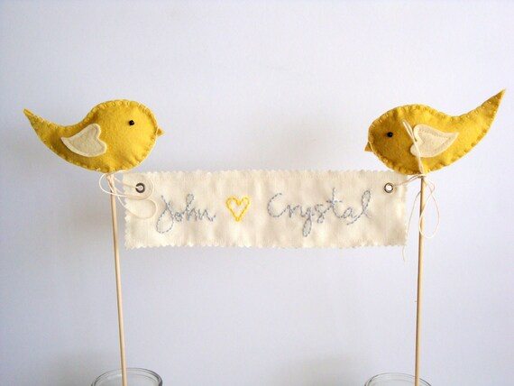 Reserved for Janelle-  Love Birds Wedding Cake Topper- personalized banner with bride groom names for wedding