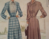 Now on Sale, 1947 McCall Belted Dress with Cuffs Sewing Pattern 7143, Size 16, Bust 36