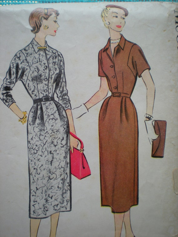 Now on Sale, Vintage 1954 Belted Dress Sewing Pattern, McCall's 3017, Size 40, Bust 40