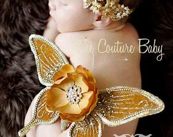 GOLDEN SEQUIN DELUXE Newborn Butterfly Wings & Headband Set