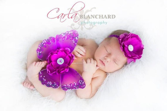 PURPLE Sequin Preemie Newborn Infant Vintage Butterfly Wings and Headband 2 Pc Set Photo Prop First Christmas Photos