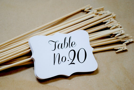 items similar to shabby chic rustic table number holders wedding clips fall table numbers and holders set of 20 on etsy