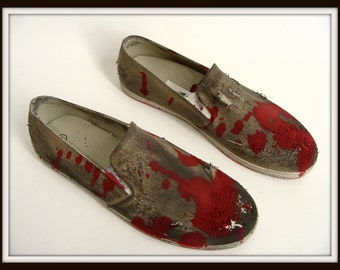 Custom Made Bloody ZOMBIE SHOES Halloween Costume Slip On Loafers mens 9 womens 10