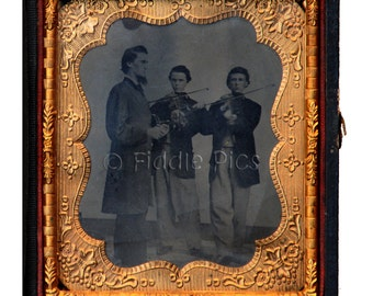 RARE Tintype in Case | Civil War Era Violinists | VIOLIN Teacher and Two BOYS