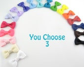 Baby Hair Bows Pinched Style -  3 Pack of Pinched Bows On Mini Snap Clips for Fine Hair Newborn to Toddler - Non Slip Choose Colors mp
