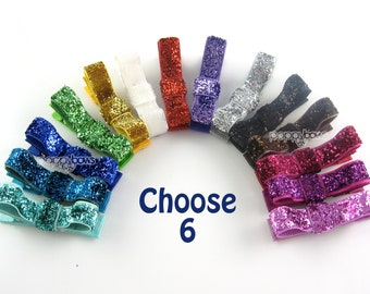 6 Pack Glitter Hair Clips - You Choose Color Toddler Hair Clips - Baby Hair Clips - No Slip Grip for Fine Hair Tuxedo Bow