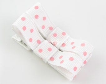 Baby Hair Clips - toddler hair clips - baby barrettes - girls hair clips - hair clips for babies - white hair clips - pink polka dot pair