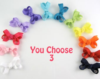 Set of 3 Baby Hair Bows Your Color Choices - Extra Small Boutique Bows On Mini Snap Clip for Fine Hair Babies Toddler - Non Slip Barrette mm
